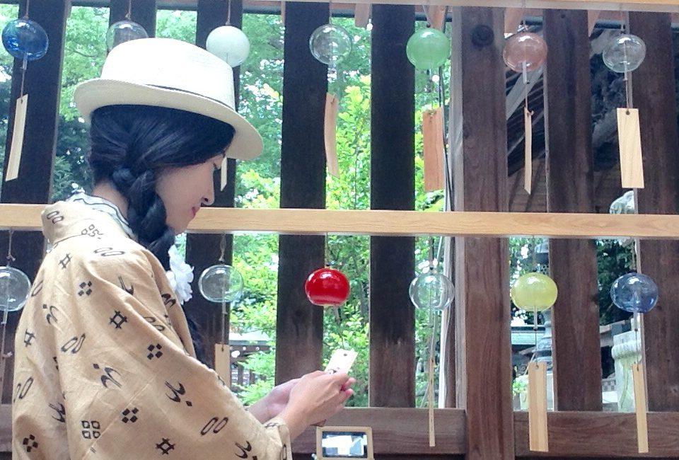 縁むすびで有名な川越氷川神社を着物で散策「縁むすび風鈴」