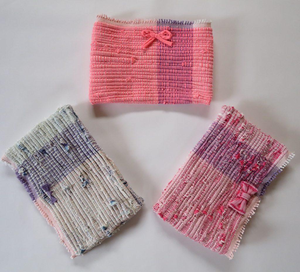 【裂き織り作品】デニムとTシャツで裂き織りポーチ
